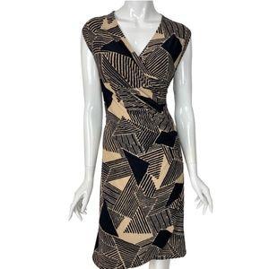 Lauren Ralph Lauren Black/Tan Wrap Dress NWT